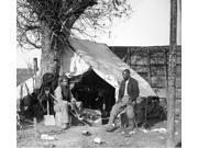 Civil War Contrabands Ntwo African American Contrabands (Freed Slaves) Sitting In Front Of A Tent One With Cigar And The Other With A Soup Ladle At A Military C