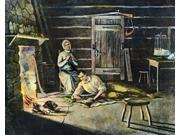 Abraham Lincoln N(1809-1865) 16Th President Of The United States A Young Lincoln Reading By Firelight With His Stepmother Sarah Bush Lincoln Engraving 19Th Cent