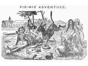 Picnic 1846 Nwood Engraving American 1846 Poster Print by  (18 x 24)