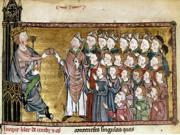 Louis Ix (1214-1270) Nsaint Louis King Of France 1226-1270 Saint Louis With A Group Of Bishops Illumination From Le Grand Coutumier De Normandie 1340 Poster Pri