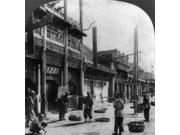 China Peking C1919 Na Street Scene In Peking China With Men Carrying Their Wares In Baskets Stereograph C1919 Poster Print by  (18 x 24)