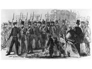 Civil War Marines Nsoldiers Of The US Marine Corps Marching Past Crowds Of Onlookers On A City Street During The American Civil War 1861-1865 Wood Engraving 19T