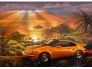 Porsche Beach Poster Print by Adrian Chesterman (17 x 8)