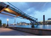Low angle view of Millennium Bridge, Thames River, Southwark, London, England Poster Print (36 x 12)