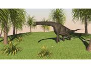Large Brachiosaurus grazing in a grassy field Poster Print (18 x 10)