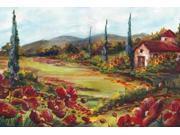 Tuscan Poppy Landscape Poster Print by  Tre Sorelle Studios (12 x 18)