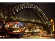 Australia, NSW, Sydney Harbour Bridge, Tour Boat at Night Poster Print by David Wall (36 x 24)