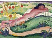 Nude Lying In The Flowers Poster Print by Franz Marc (20 x 28) 9SIA1S746U5485