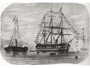 HMS Hero in 1860. A 91 gun ship-of-the-line. From Edward VII His Life and Times, published 1910. Poster Print (17 x 12)