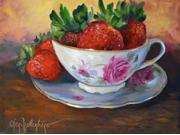 Cup and Saucer with Strawberries Poster Print by Cheri Wollenberg (18 x 24) 9SIA1S74613699