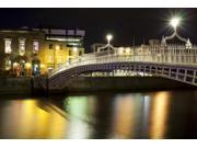 Bridge across a river at night, Ha'penny Bridge, Liffey River, Dublin, Leinster Province, Republic of Ireland Poster 9SIA1S74MV0264