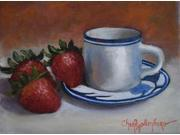Strawberries and Cup and Saucer Poster Print by Cheri Wollenberg (22 x 28) 9SIA1S740U7574