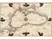 Portolan or Navigational Map of the Black Sea showing anthropomorphic winds Poster Print by Battista Agnese (24 x 36)