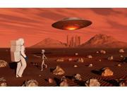 A human astronaut making contact with a grey alien on the surface of Mars Poster Print (18 x 11)