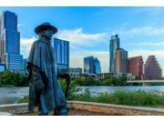Statue of Stevie Ray Vaughan on the shore of Lady Bird Lake in downtown Austin Texas USA Poster Print (18 x 24) 9SIA1S75CZ3176