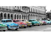 Cars parked in line Havana Cuba Poster Print by Pangea Images (10 x 20)