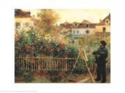 Monet Painting in His Garden at Argenteuil, 1873 Poster Print by Pierre-Auguste Renoir (30 x 24)