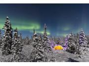 The Aurora Borealis dances over the top of a tent alight with string lights in the middle of an snowy evergreen forest moonlight casting shadows on a clear wint 9SIA1S762V0622