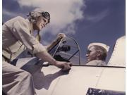 Ensign and cadet talking by cockpit at Naval Air Station Corpus Christi Texas 1942 Poster Print by Stocktrek Images (16 x 12) 9SIA1S762V0648