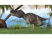 Ceratosaurus hunting in a prehistoric environment Poster Print (37 x 21)