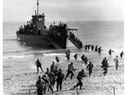 Soldiers of the US Army invade the beach during Operation Torch in North Africa Poster Print by Stocktrek Images (17 x 11)