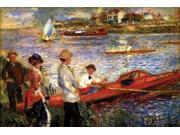 On the Riverbank at Chatou men and women in fine attire stand on the embankment while an oarsmen sits in a boat inviting them to take a ride Poster Print by Pie 9SIA1S76N49367