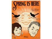 Smiling Sun with bids singing from branches silhouetted across its face young boy and girl faces below Poster Print (18 x 24)