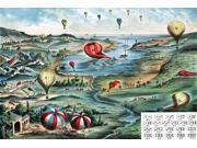 Game board shows a varied landscape and waterfront filled with 21 numbered balloons Chart at right illustrates 17 different combinations of numbers on a pair of