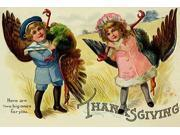 A little boy and a little girl have captures and brought two large turkeys as a gift  This vintage postcard was mailed for Thanksgiving Poster Print by unknown