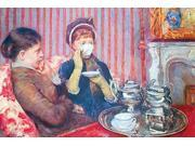 Two ladies sit on a sofa drinking a cup of tea with a silver service in front of them on the table Poster Print by Mary  Cassatt (18 x 24) 9SIA1S76N28017