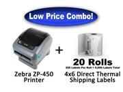 Zebra ZP-450 High Speed Direct Thermal Label Printer + 5,000 - 4x6 Shipping Labels
