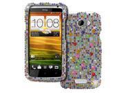 Empire Silver Multi Colored Diamante Bling Case Cover for HTC One X+