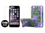 iPhone 6 / 6S Case, Purple Rainbow Leopard Dual Layered Tough Case + Bubble Free Tempered GLASS Screen Protector 9SIA1SJ5058999