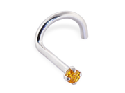 14K Gold Nose Screw with Genuine Citrine, 20 Ga,Gold color:White gold