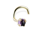 14K Gold Nose Screw with Genuine 2mm Round Cabochon Amethyst, 20 Ga,Gold color:Yellow gold