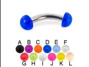 "Acrylic half ball curved barbell, 10 ga,Length:9/16"" (14mm),Color:yellow - K"