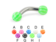 """Checkered ball curved barbell, 10 ga,Length:5/16"""" (8mm),Ball size:1/4"""" (6mm),Color:orange - E"""