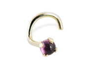 14K Gold Nose Screw with Genuine 2mm Round Cabochon Garnet, 20 Ga,Gold color:Yellow gold