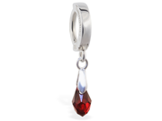 Silver Tummytoys belly sleeper ring with dangling ruby crystal, 14 ga 9SIA1SN0HT9119