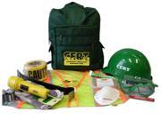 Mayday Industries CERT Starter Kit packed in a green backpack