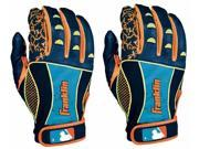 Franklin Insanity Adult Batting Gloves - Small - Navy/Neon Orange/Optic Yellow