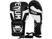 Venum Elite Long Cuff Lace Up Boxing Gloves 14 oz. Black White