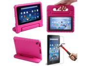 HDE Kindle Fire 7 2015 Kids Shock Proof Case Tempered Glass Screen Protector Pink