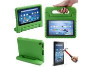 HDE Kindle Fire 7 2015 Kids Shock Proof Case Tempered Glass Screen Protector Green