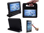HDE Kindle Fire 7 2015 Kids Shock Proof Case Tempered Glass Screen Protector Black