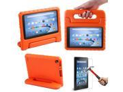 HDE Kindle Fire 7 2015 Kids Shock Proof Case Tempered Glass Screen Protector Orange