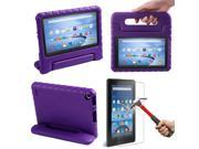 HDE Kindle Fire 7 2015 Kids Shock Proof Case Tempered Glass Screen Protector Purple