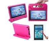 HDE Kindle Fire HD 8 2015 Kids Shock Proof Case Tempered Glass Screen Protector Pink
