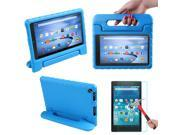 HDE Kindle Fire HD 8 2015 Kids Shock Proof Case Tempered Glass Screen Protector Blue