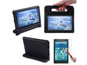 HDE Kindle Fire HD 8 2015 Kids Shock Proof Case Tempered Glass Screen Protector Black